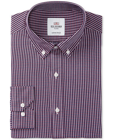 Ben Sherman Men's Slim-Fit Navy & Red Dobby Check Dress Shirt