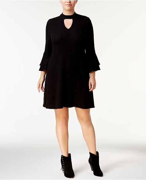 BCX Trendy Plus Size Bell-Sleeve Choker Dress