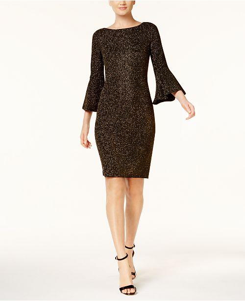 bd5cdfc0b77605 Calvin Klein Metallic Bell-Sleeve Sheath Dress, Regular & Petite Sizes,  Created for