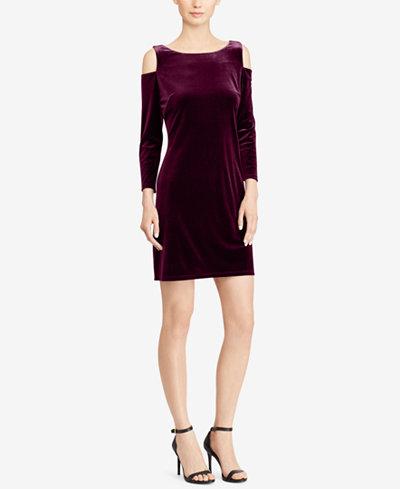 American Living Velvet Cold-Shoulder Dress