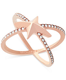 Michael Kors Rose Gold-Tone Pavé Starburst Open Ring