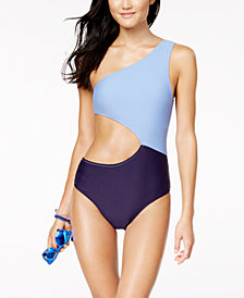 Jessica Simpson Chop and Change Colorblocked Cutout One-Shoulder One-Piece Swimsuit