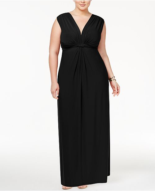 Love Squared Trendy Plus Size Sleeveless Knotted Maxi Dress