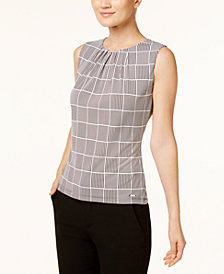 Calvin Klein Sleeveless Pleated Top, Regular & Petite