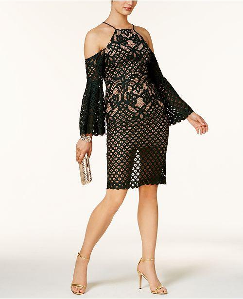 Bardot Mila Cold-Shoulder Mixed-Lace Illusion Dress