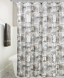 "Interdesign Cityscapes Paris Graphic-Print 72"" x 72"" Shower Curtain"