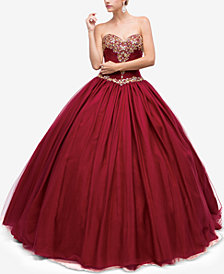 Dancing Queen Juniors' Embellished Pleated Strapless Gown