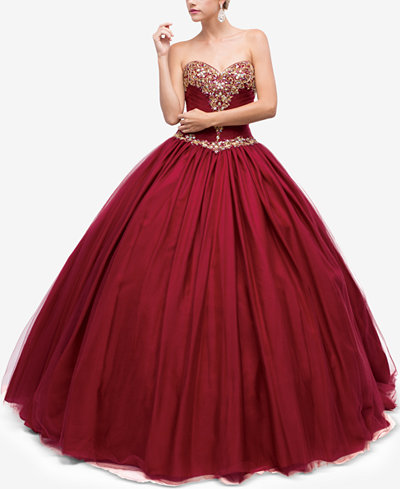 Dancing Queen Juniors Embellished Pleated Strapless Gown