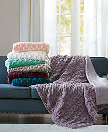 Reversible Ruched Faux-Fur Throw