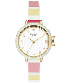 kate spade new york Women's Park Row Multi Striped Silicone Strap Watch 34mm
