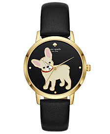kate spade new york Women's Grand Metro Black Leather Strap Watch 38mm