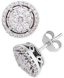 Diamond Halo Cluster Stud Earrings (1 ct. t.w.) in 14k White Gold