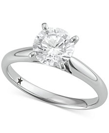 Macy's Star Signature Diamond™ Solitaire Engagement Ring (1-1/2 ct. t.w.) in 14k White Gold, SI2 Clarity
