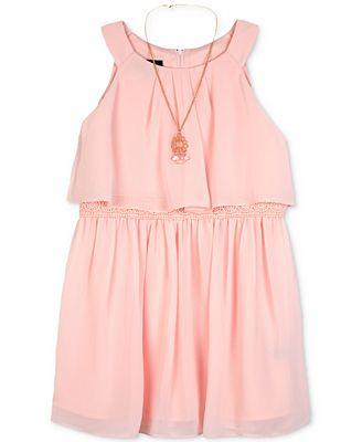 BCX Crochet Popover Dress & Necklace Set, Big Girls