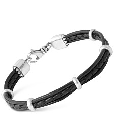King Baby Men's Multi-Strand Leather Band Bracelet with Sterling Silver