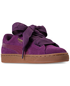 Puma Big Girls' Suede Heart SNK Casual Sneakers from Finish Line