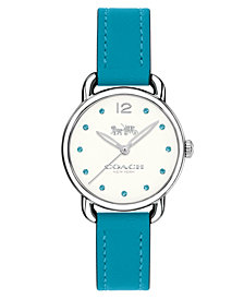 COACH Women's Turquoise Blue Leather Strap Watch 28mm