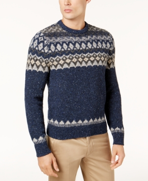 Men's Vintage Style Sweaters – 1920s to 1960s Brooks Brothers Red Fleece Mens Donegal Fair Isle Sweater $118.00 AT vintagedancer.com