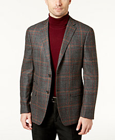 Tallia Men's Slim-Fit Charcoal & Burgundy Plaid Soft-Constructed Sport Coat