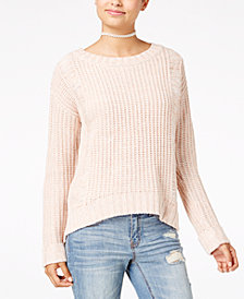 One Hart Juniors' Cuffed-Sleeve Sweater