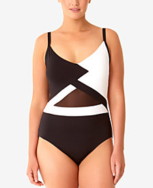 Anne Cole Plus Size Hot Mesh One-Piece Swimsuit