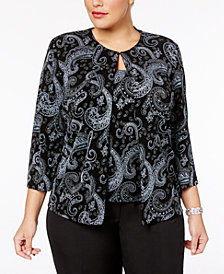 Alex Evenings Plus Size Glitter Paisley-Print Jacket & Shell