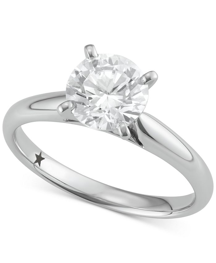 Macy's Star Signature Diamond - Certified ™ Solitaire Engagement Ring (1-1/2 ct. t.w.) in 14k Gold or White Gold