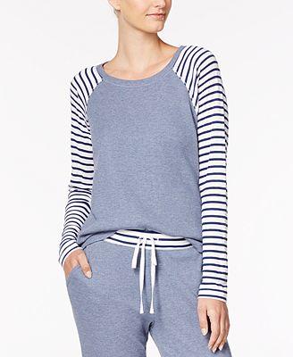 Alfani Striped-Sleeve Thermal Pajama Top, Created for Macy's