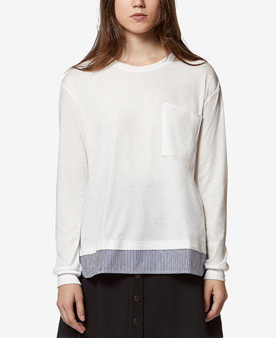 Avec Les Filles Cotton Layered-Look Pocket T-Shirt