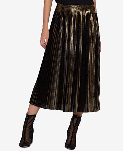Avec Les Filles Metallic Pleated Skirt