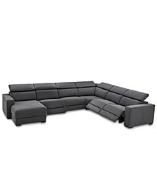 Nevio 6-Pc. Fabric Sectional Sofa with Chaise, 3 Power Recliners and Articulating Headrests, Created for Macy's