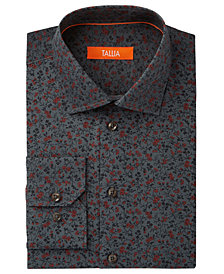 Tallia Men's Fitted White Mini Floral Dress Shirt