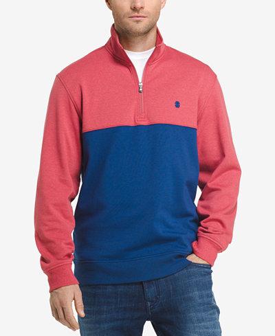 IZOD Men's Soft Touch Quarter-Zip Fleece Pullover - Hoodies ...