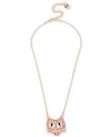 Betsey Johnson Rose Gold-Tone Pink Pavé Cat Pendant Necklace