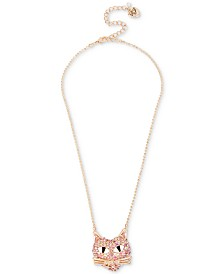 Betsey Johnson Rose Gold-Tone Pink Pavé Cat Pendant Necklace