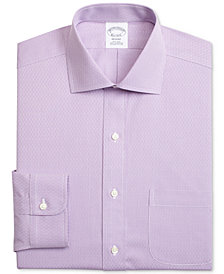 Brooks Brothers Men's Regent Slim-Fit Non-Iron Purple Dobby Dress Shirt