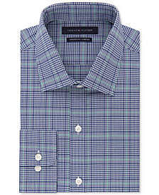 Tommy Hilfiger Men's Fitted Performance Stretch TH Flex Collar Blue Green Check Dress Shirt