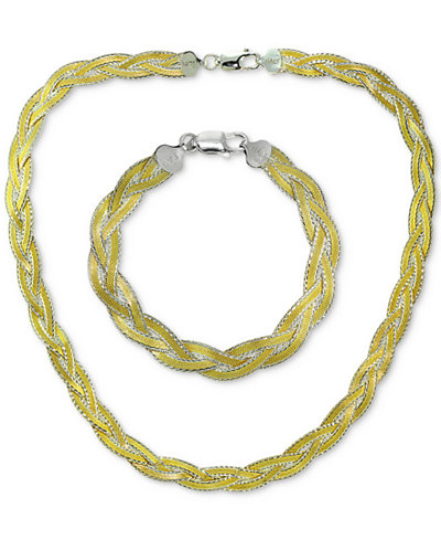 Giani Bernini Two-Tone Braided Jewelry Set in Sterling Silver & 18k Gold-Plated Sterling Silver, Created for Macy's