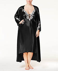 Flora by Flora Nikrooz Plus Size Satin Stella Gown and Robe Separates