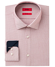 HUGO Men's Slim-Fit Red Thin Stripe Dress Shirt