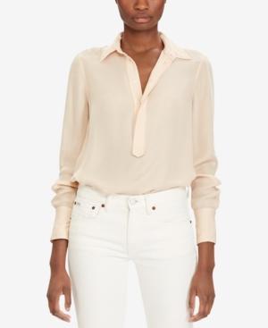 1af5763565ab6e Polo Ralph Lauren Silk Georgette Blouse In Blush
