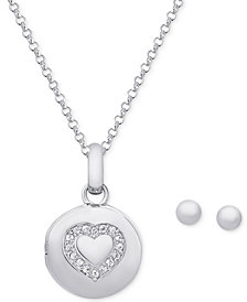 Cubic Zirconia Locket Pendant Necklace and Ball Stud Earrings Set in Sterling Silver