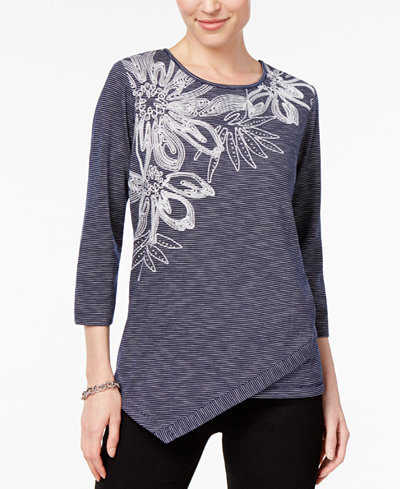 Alfred Dunner Montego Bay Petite Embroidered Asymmetrical Top