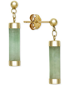 Dyed Jadeite (4 x 15mm) Capped Tube Drop Earrings in 14k Gold