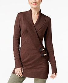 I.N.C. Surplice Buckle Tunic Sweater, Created for Macy's