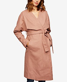 Maternity Shawl-Collar Wool Coat