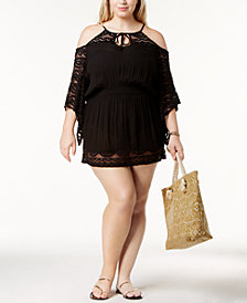 Raviya Plus Size Crochet Cold-Shoulder Tunic Cover-Up