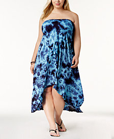 Raviya Plus Size Tie-Dyed Waterfall Cover-Up Dress