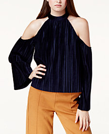 J.O.A. Velvet Pleated Cold-Shoulder Top