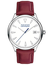 Women's Swiss Heritage Series Calendoplan Red Leather Strap Watch 36mm